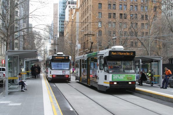 A1.238 heads west on route 12 at the new Collins and William Street platform stop