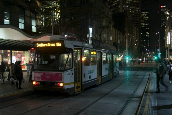 A2.291 on a route 86a shortworking to Southern Cross Station, at Bourke and Swanston Street