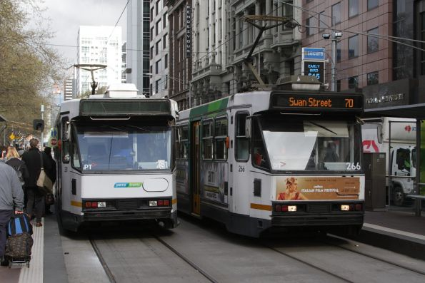 A2.281 and A2.266 cross paths at Flinders and Elizabeth Street
