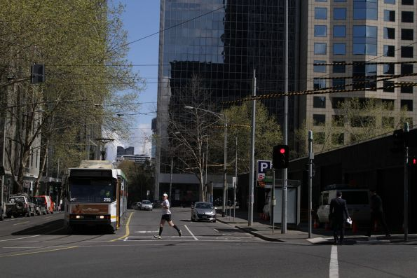 B2.2110 on route 55 waits to turn from Flinders Lane into Market Street