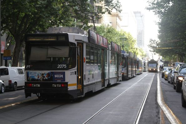 B2.2075 at the tail end of a queue of trams at the corner of Collins and Spencer Streets