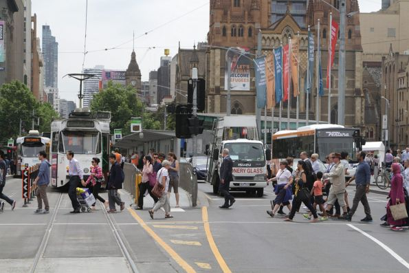 Z1.92 southbound on a route 72 service at Federation Square