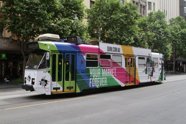 Z3.157 advertising 'Queen Victoria Market' southbound at Swanston and Collins Street