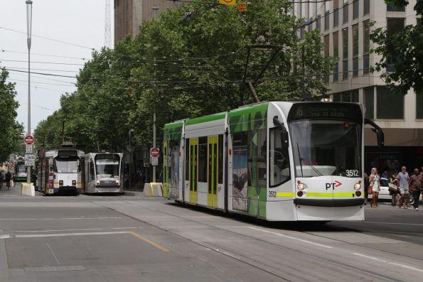 D1.3512 northbound on route 16 at Swanston and Collins Street