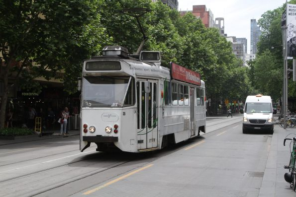 Z1.35 southbound on route 64 at Swanston and Collins Street