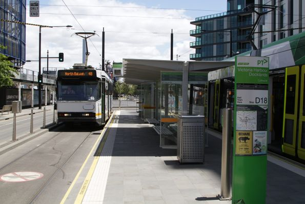 A2.296 awaits departure time with a route 48 service from Victoria Harbour terminus at Docklands