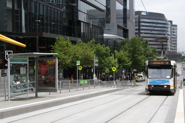 A2.293 arrives at the Batman's Hill tram stop, headed east on route 48 along Collins Street