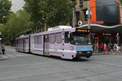 B2.2108 advertising 'Bio Island' westbound on route 86 at Swanston and Bourke Street