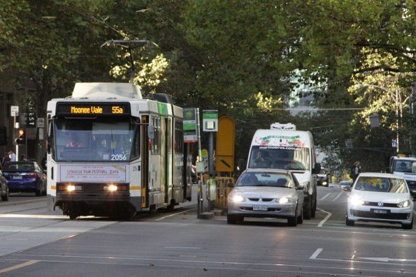 B2.2056 at William and Lonsdale Street, bound for 'Daly & Dawson Streets, Moonee Vale' on route 55