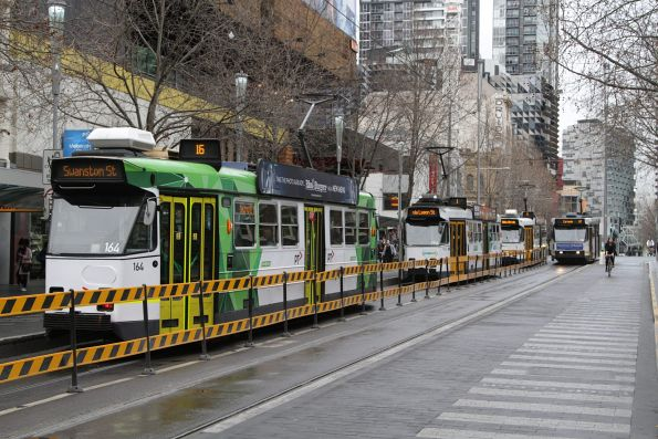 Z3.164 trails a pack of Z3 class trams northbound at Swanston and La Trobe Street