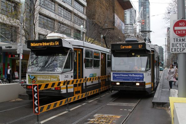 A1.235 on route 67 and A1.245 on route 64 cross paths at Swanston and Little Lonsdale Street