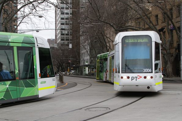 C.3022 and C.3006 cross paths on route route 48 at Spring and Collins Street