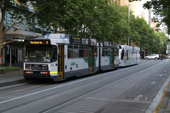B2.2104 heads north on route 8 at Swanston Street and Flinders Lane