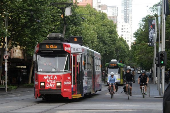 Z3.160 advertising 'Banksy' heads south on route 16 at Swanston and Collins Street