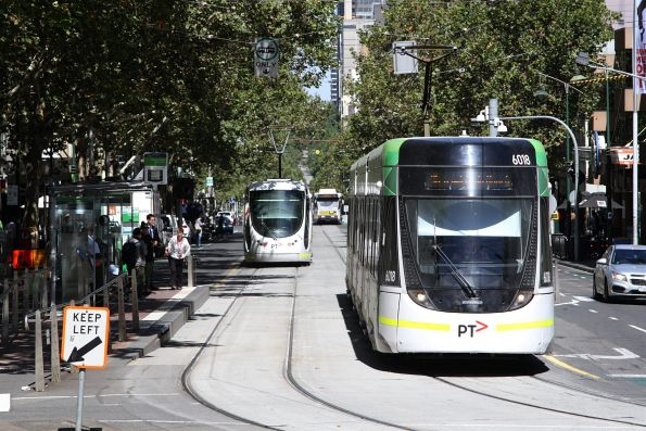E, C2 and B2 class trams at Bourke and Spring Street