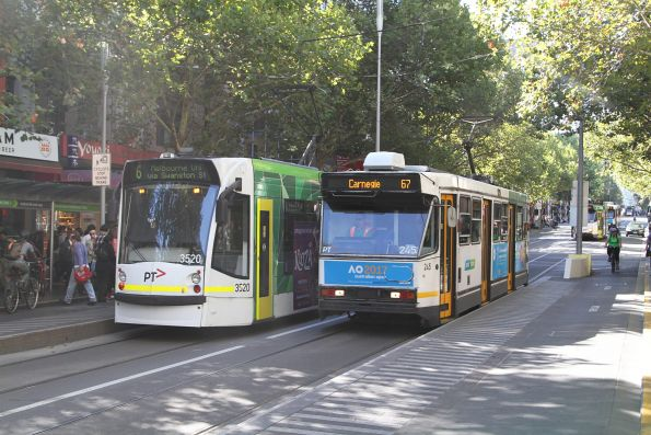 A1.245 on route 67 passes D1.3520 on route 6 at Swanston and Little Bourke Street