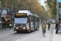 B2.2018 heads south on route 64 at Swanston and Collins Street