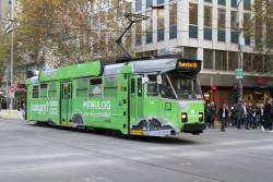 Z3.148 advertising 'Menulog' heads north at Swanston and Collins Street