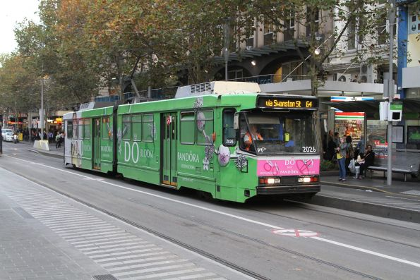 B2.2026 advertising 'Pandora' heads north on route 64 at Swanston and Collins Street