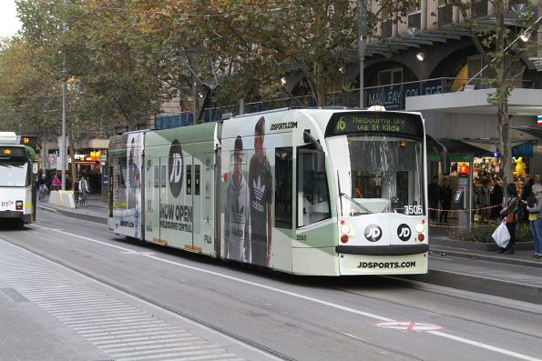 D1.3505 advertising 'JD Sport' heads north on route 16 at Swanston and Collins Street