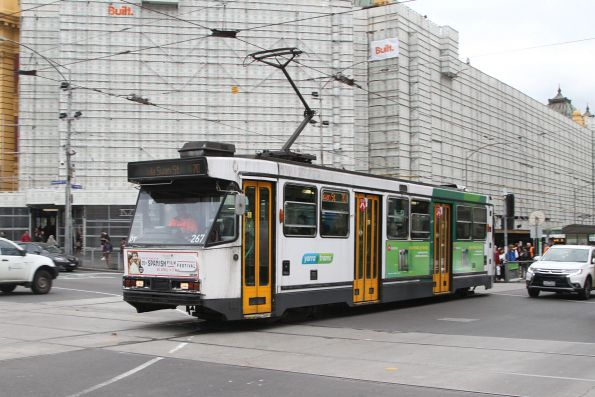 A2.267 heads east on route 70 outside Flinders Street Station