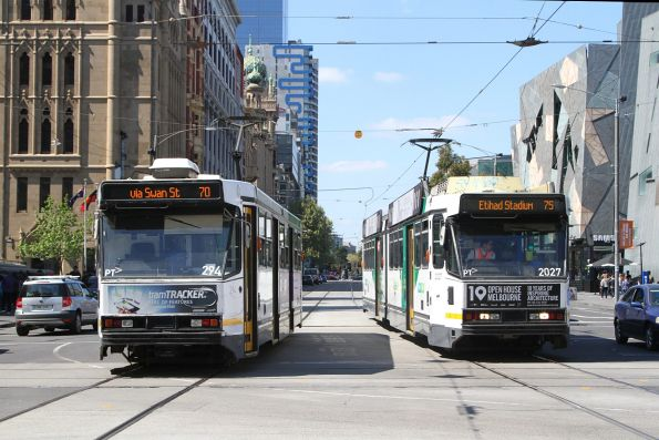 A2.294 on route 70 passes B2.2027 on route 75 at Flinders and Swanston Street