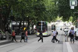 More delayed E class trams westbound at Bourke and King Street