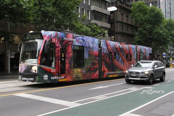D1.3514 advertising 'Sydney' heads north on route 58 at William and Bourke Street