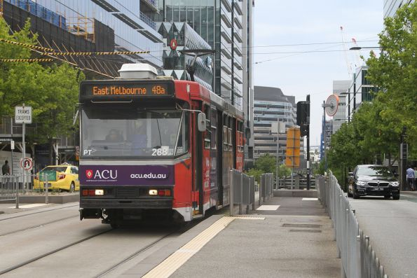 A2.288 advertising 'ACU' heads west on route 48a at Batman's Hill