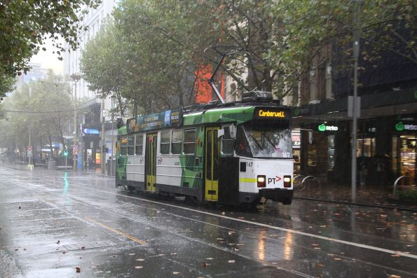 Z3.167 heads south on route 72 at Swanston and Bourke Street