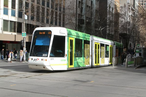 C.3019 heads east on route 109 at Collins and Swanston Street