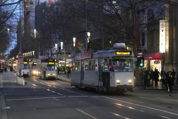 Z3.192 heads north on route 6 at Swanston and Little Bourke Street
