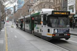B2.2117 heads north on route 1 at Swanston and Bourke Street