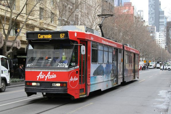 B2.2026 advertising 'Air Asia' heads south on route 67 at Swanston and Collins Street