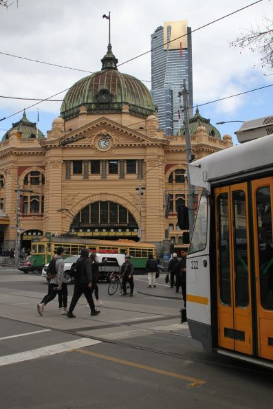 Z3.222 passes W8.946 outside Flinders Street Station