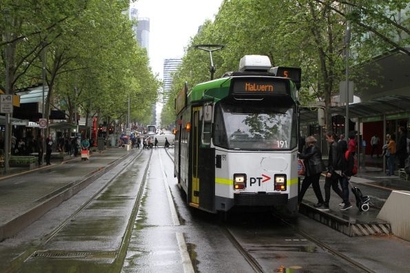 Z3.191 heads south on route 5 at Swanston and Bourke Street