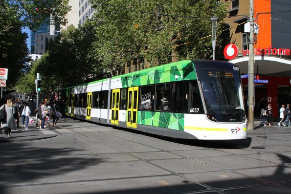 E2.6057 heads west on route 96 at Bourke and Swanston Street