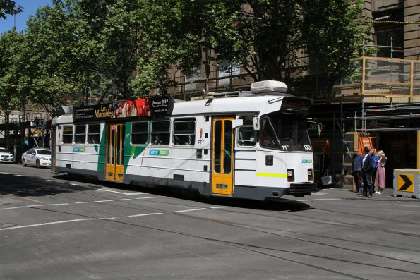 Z3.138 heads north on route 5 at Swanston Street and Flinders Lane