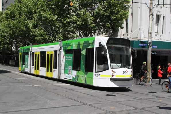 D1.3507 heads north on route 16a at Swanston and Bourke Street