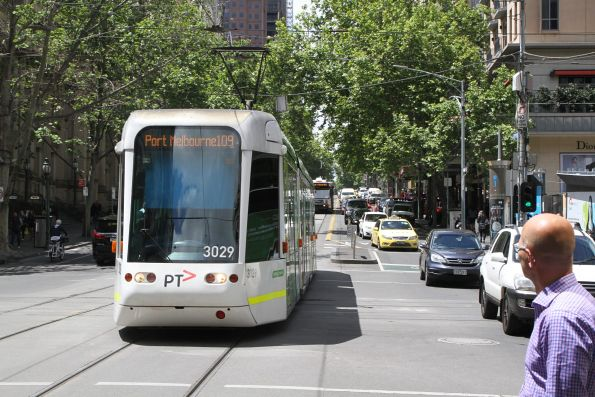 C.3027 heads west on route 109 at Collins and Swanston Street