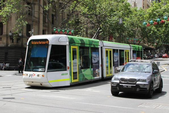 C.3023 heads west on route 48 at Collins and Swanston Street