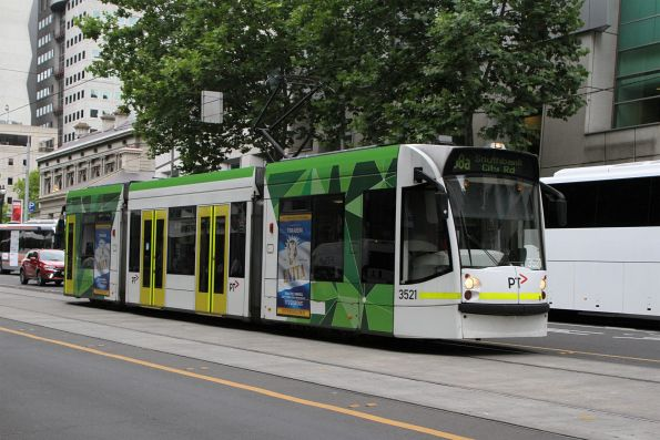 D1.3521 heads south on route 58a to Southbank / City Road at William and Lonsdale Street