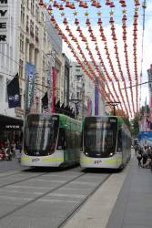 E2.6051 and E.6024 pass in the Bourke Street Mall
