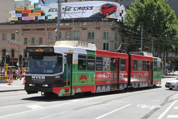 B2.2004 advertising 'Myer' heads south on route 1 at Swanston and Flinders Street