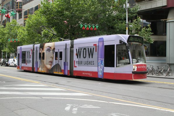 Z3.175 advertising 'Rimmel' heads south on route 6 at Swanston and La Trobe Street