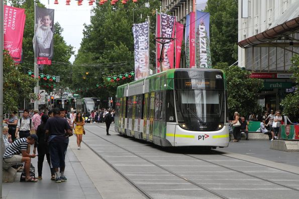 E.6016 leads more westbound trams through the Bourke Street Mall