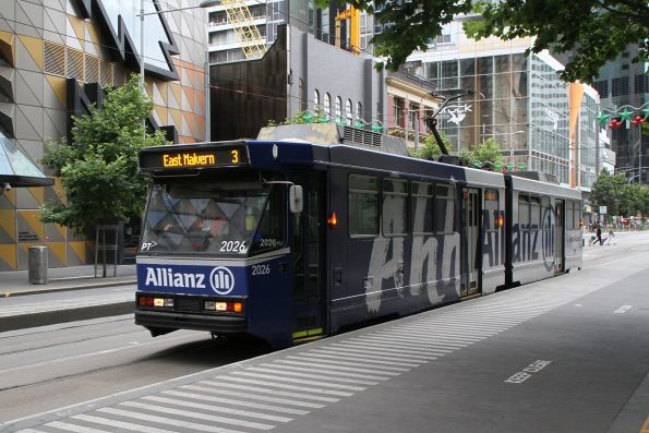 B2.2026 advertising 'Allianz' heads south on route 3 at Swanston and A'Beckett Street