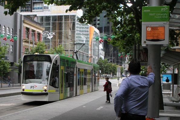 D1.3515 heads south on route 16 at Swanston and A'Beckett Street