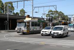 B2.2083 heads east on route 75a 'Bus around work' at Flinders and Market Street