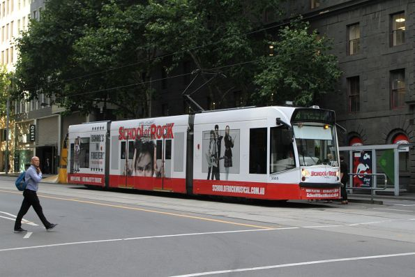 D1.3505 advertising 'School of Rock' heads south on route 58 at William and Bourke Street